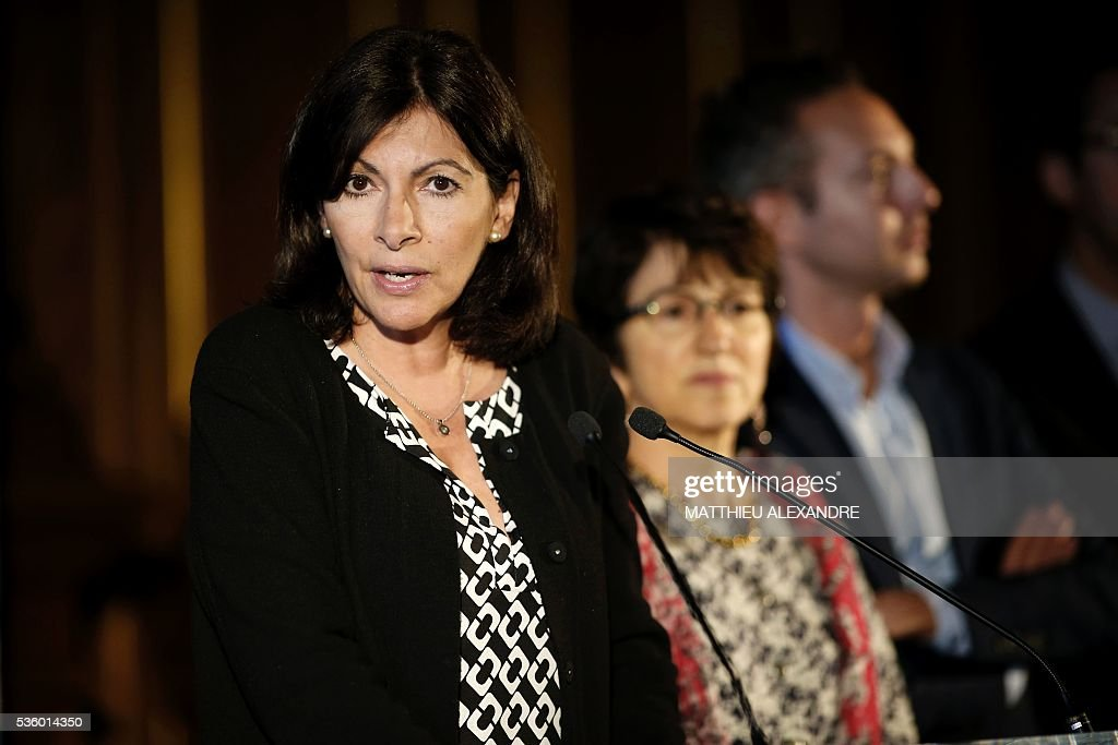 Mayor of Paris Anne Hidalgo gives a press conference regarding the creation of an official camp to welcome migrants on May 31, 2016 in Paris. The mayor of Paris said on Tuesday she wanted to create a refugee camp in the French capital to replace makeshift camps that are habitually closed down for health reasons. City authorities are 'assessing different sites' for their suitability to create a camp 'as soon as possible', Mayor Anne Hidalgo told during a press conference. ALEXANDRE