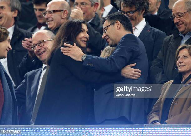 Mayor of Paris Anne Hidalgo greets President of FC Barcelona Josep Maria Bartomeu following the UEFA Champions League Round of 16 second leg match...