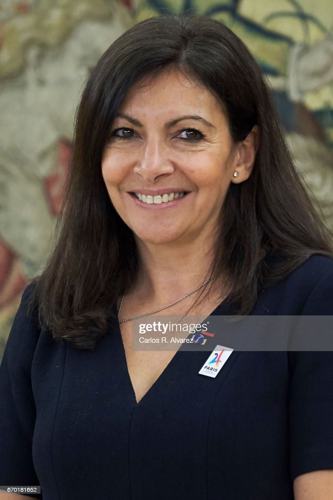 Mayor of Paris Anne Hidalgo looks on before her meeting with King Felipe VI of Spain at the Zarzuela Palace on April 19, 2017 in Madrid, Spain.