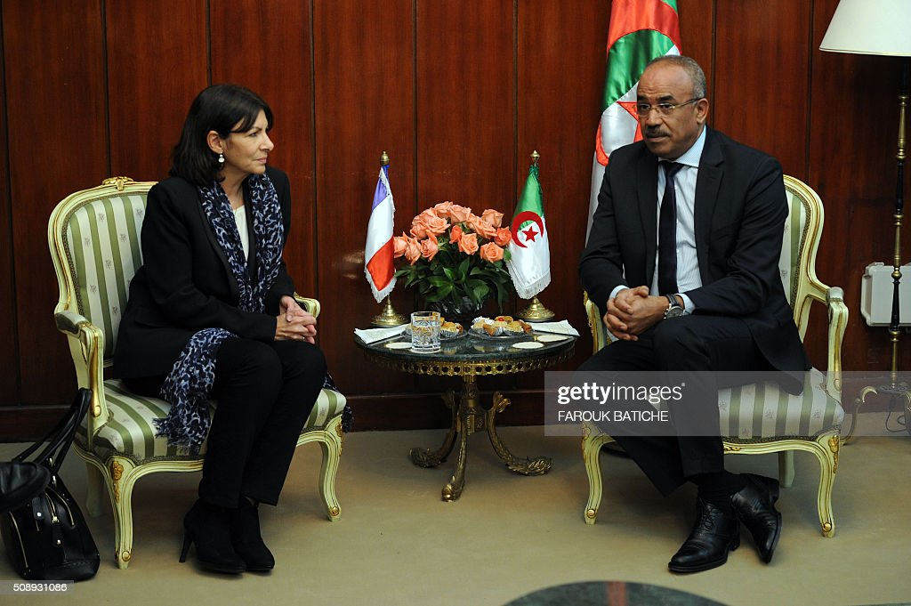Mayor of Paris Anne Hidalgo (L) meets with Algerian Interior and Territorial Collectivities Minister Noureddine Bedoui during a two-day work visit on February 7, 2016 in the capital Algiers. / AFP / Farouk Batiche