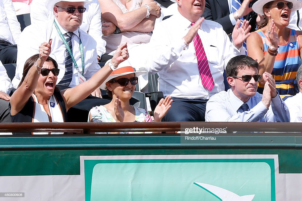 Mayor of Paris Anne Hidalgo, Minister of Women's Rights, the City and the Youth and Sports Najat Vallaud-Belkacem and French Prime Minister Emmanuel Valls attend the Men's Final of Roland Garros French Tennis Open 2014 - Day 15 on June 8, 2014 in Paris, France.