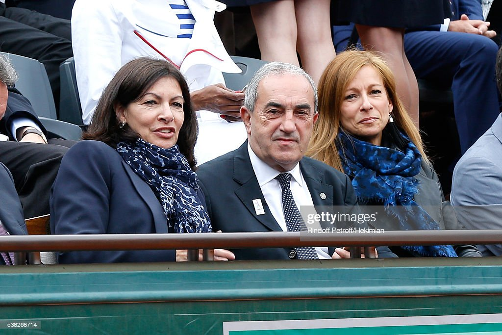 Mayor of Paris Anne Hidalgo, President of French Tennis Federation Jean Gachassin and French Prime Minister's wife, violonist Anne Gravoin attend Day Fifteen, Men single's Final of the 2016 French Tennis Open at Roland Garros on June 5, 2016 in Paris, France.