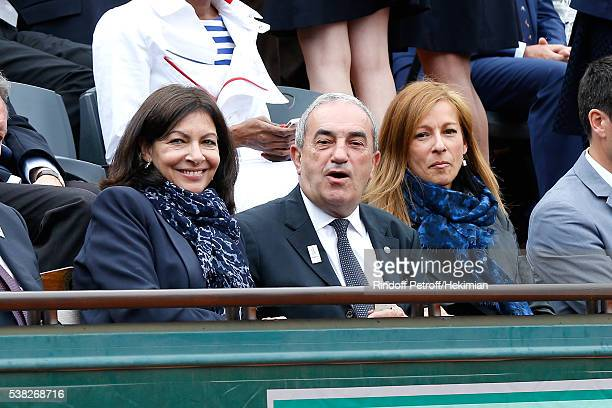 Mayor of Paris Anne Hidalgo President of French Tennis Federation Jean Gachassin and French Prime Minister's wife violonist Anne Gravoin attend Day...
