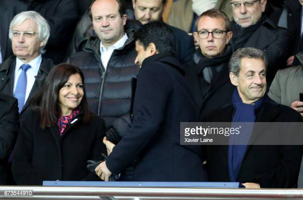 Mayor of Paris Anne Hidalgo president of PSG Nasser AlKhelafi and French president Nicolas Sarkozy of AS Monaco attend the French Cup SemiFinal match...
