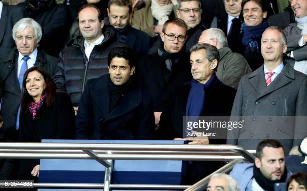Mayor of Paris Anne Hidalgo president of PSG Nasser AlKhelafi Former French president Nicolas Sarkozy and Vadim Vasilyev of AS Monaco attend the...