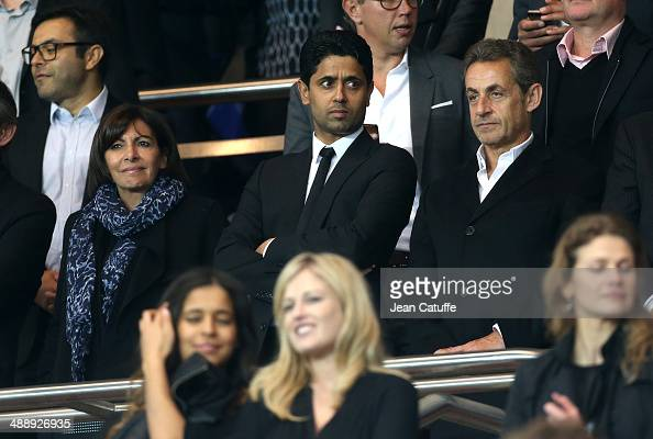Mayor of Paris Anne Hidalgo President of PSG Nasser AlKhelaifi and former French President Nicolas Sarkozy attend the french Ligue 1 match between...
