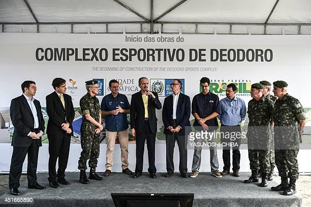 Mayor of Rio de Janeiro Eduardo Paes Brazilian army commandar General Enzo Martins Peri Brazilian Sports Minister Aldo Rebelo and President of the...