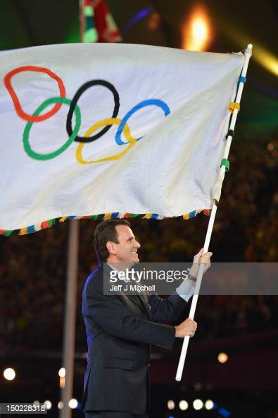 Mayor of Rio de Janeiro Eduardo Paes flies the Olympic flag during the Closing Ceremony on Day 16 of the London 2012 Olympic Games at Olympic Stadium...