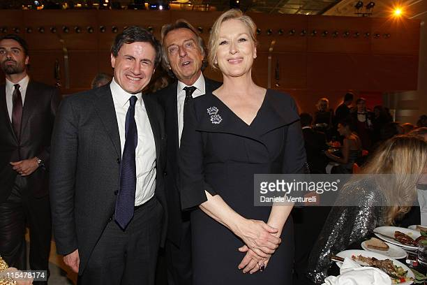 Mayor of Rome Gianni Alemanno Telethon president Luca Cordero di Montezemolo and actress Meryl Streep attend the Charity Gala Telethon during Day 8...