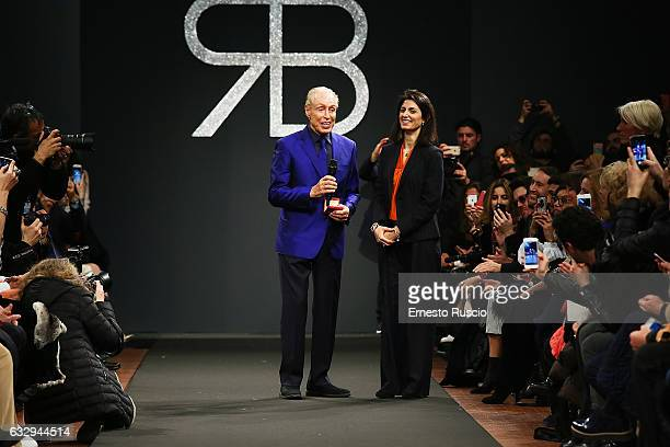 Mayor of Rome Virginia Raggi and designer Renato Balestra attend the runway of the 'Renato Balestra' fashion show during AltaRoma January 2017 on...