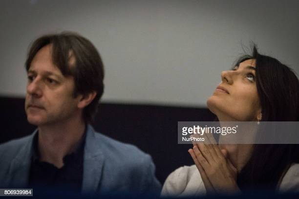 Mayor of Rome Virginia Raggi and Luca Bergamo attends 'Planetary Rome' presentation an initiative of Roma Capitale to promote scientific culture that...