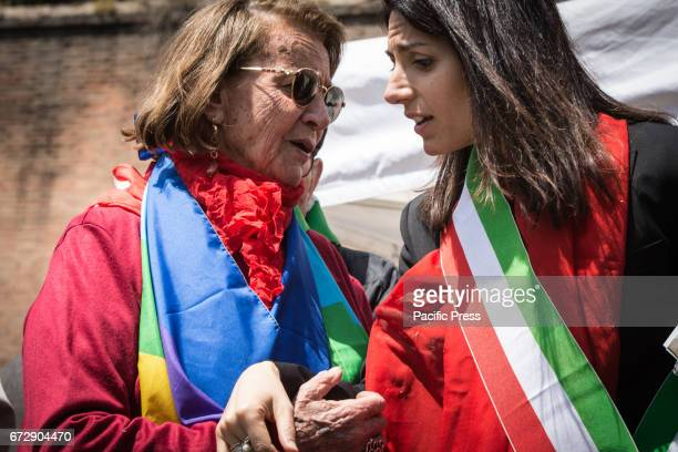 Mayor of Rome Virginia Raggi and Tina Costa during manifestation by ANPI a national partisan association of Italy for the 72th anniversary of the...