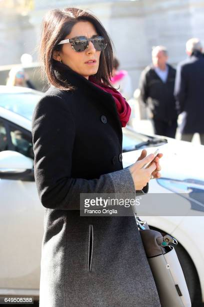 Mayor of Rome Virginia Raggi arrives at the International Women's Day Celebrations at Palazzo del Quirinale on March 8 2017 in Rome Italy