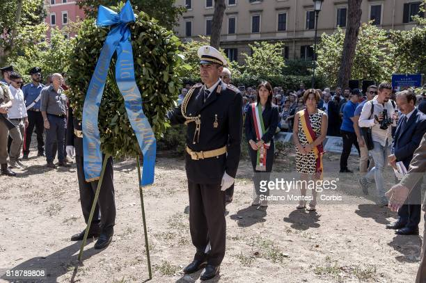 Mayor of Rome Virginia Raggi attends a commemoration ceremony marking the 74year anniversary of the July 19 1943 American aerial raids in the...