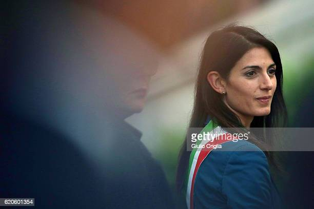 Mayor of Rome Virginia Raggi attends a mass at the Cemetery of Prima Porta 'Cimitero Flaminio' held by Pope Francis on November 2 2016 in Rome Italy...