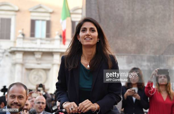 Mayor of Rome Virginia Raggi attends a protest of the antiestablishment 5 Star Movement against the government's decision to put a bill for a new...