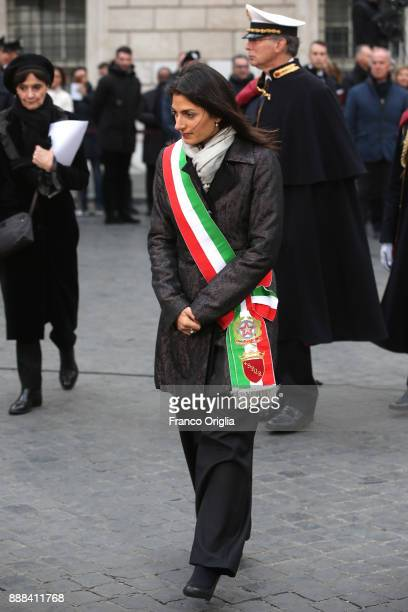Mayor of Rome Virginia Raggi attends the feast of the Immaculate Conception at Spanish Steps on December 8 2017 in Rome Italy The Pope's visit to the...