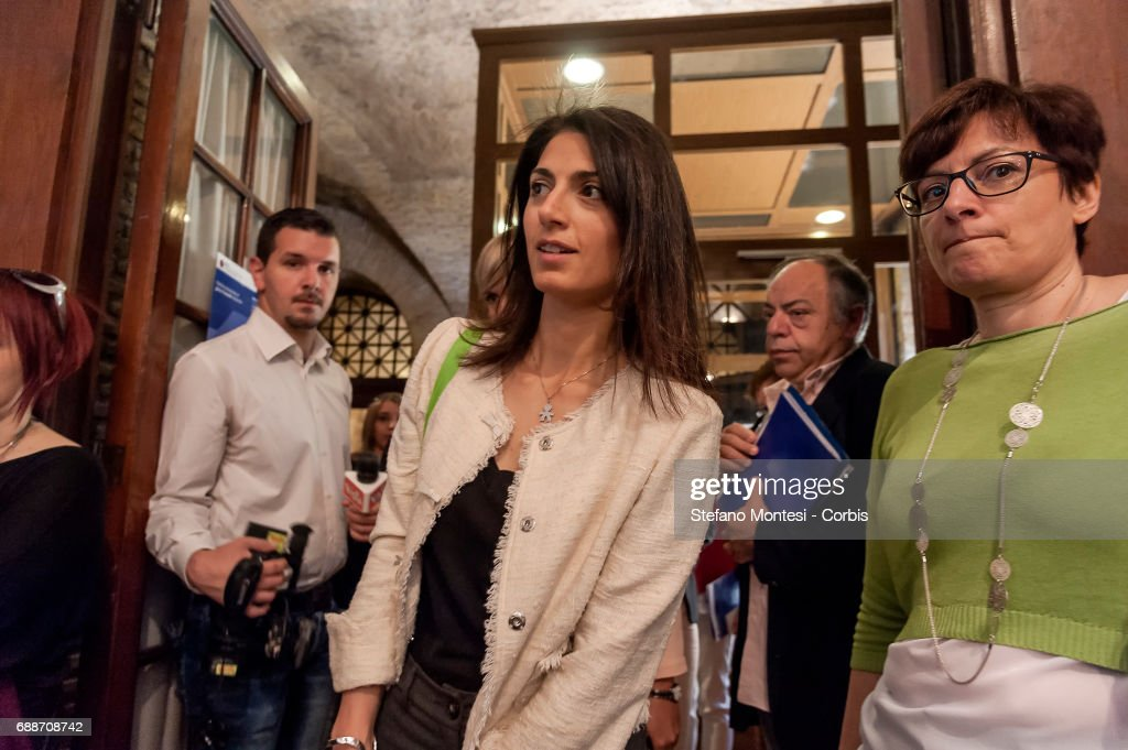 Mayor Of Rome Virginia Raggi during press conference on 'Institutional Politics on Industrial Gambling'. The Mayor Virginia said that it is a bankruptcy the proposal of the Government which has among the aims to prevent the risk of the excess of children in gambling, we do not see from the government the will of prevention on May 26, 2017 in Rome,Italy. Gambling moves in Italy a turnover of 10.5 billion euros, is a source of revenue for the government.