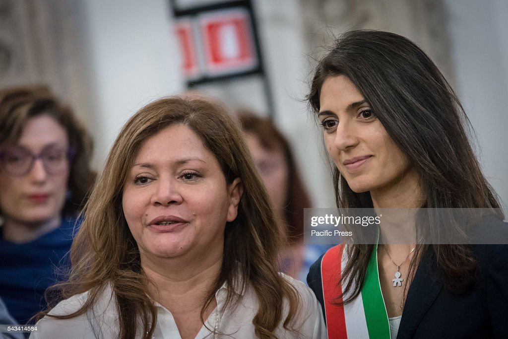 Mayor of Rome Virginia Raggi (R) during the funeral of Director Giuseppe Ferrara in Rome. Burning chamber on Capitol Hill for the director Giuseppe Ferrara, to take part in the Sala del Carroccio, also joined were the mayor of Rome Virginia Raggi, the director Giuseppe Tornatore and Don Luigi Ciotti of Libera.