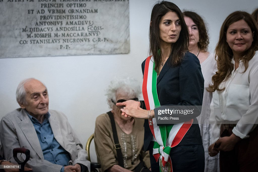 Mayor of Rome Virginia Raggi during the funeral of Director Giuseppe Ferrara in Rome. Burning chamber on Capitol Hill for the director Giuseppe Ferrara, to take part in the Sala del Carroccio, also joined were the mayor of Rome Virginia Raggi, the director Giuseppe Tornatore and Don Luigi Ciotti of Libera.