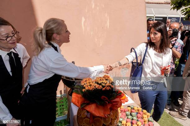 Mayor of Rome Virginia Raggi during the inauguration of new refreshment point for tourists at Fori Imperiali on June 23 2017 in Rome Italy With more...