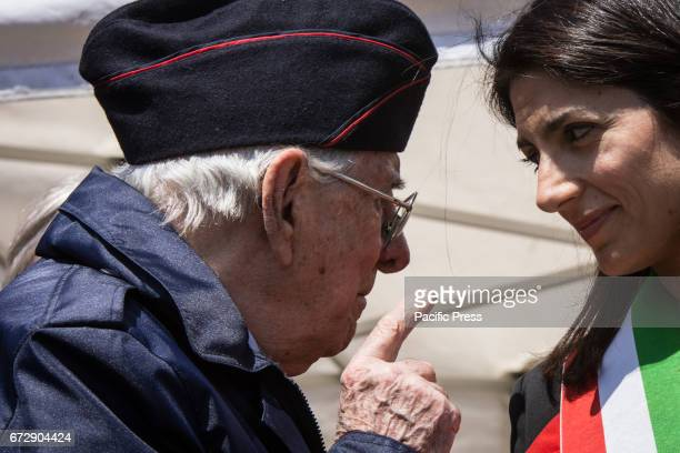 Mayor of Rome Virginia Raggi during the manifestation by ANPI a national partisan association of Italy for the 72th anniversary of the liberation...