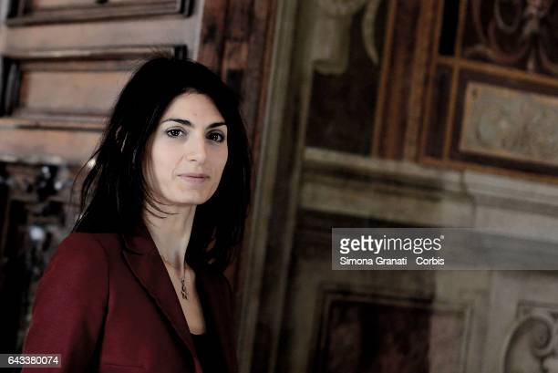 Mayor of Rome Virginia Raggi during the presentation of the restoration of the Orazi and Curiazi room at the Capitoline Museums on February 20 2017...
