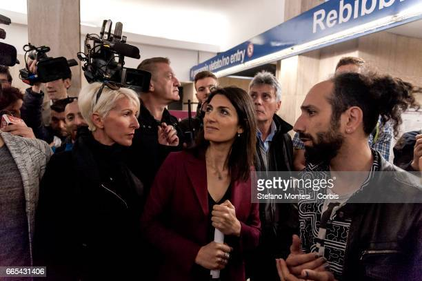 Mayor of Rome Virginia Raggi inaugurates the initiative 'Art Stop Monti' the Cavour metro station a redevelopment project of metro stations which...