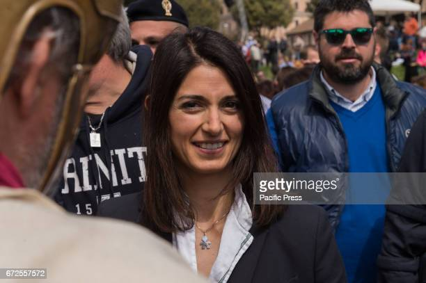 Mayor of Rome Virginia Raggi is present during the historic procession took place from the Circus Maximus to the Imperial Forum where a crown was...