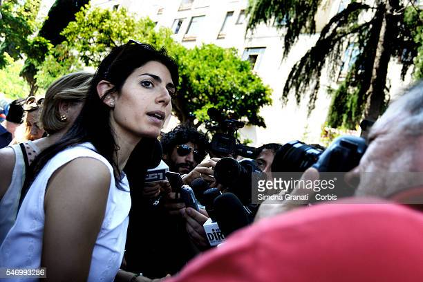 Mayor of Rome Virginia Raggi makes a visit to the Tor Bella Monaca district to meet citizens affected by a mouse infestation on July 11 2016 in Rome...