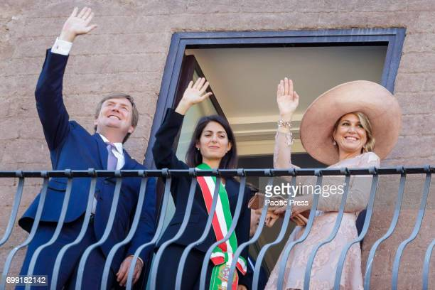 Mayor of Rome Virginia Raggi meets the King Willem Alexander and the Queen Maxima of the Netherlands at Capitol Hill in Rome Italy on June 20 2017...