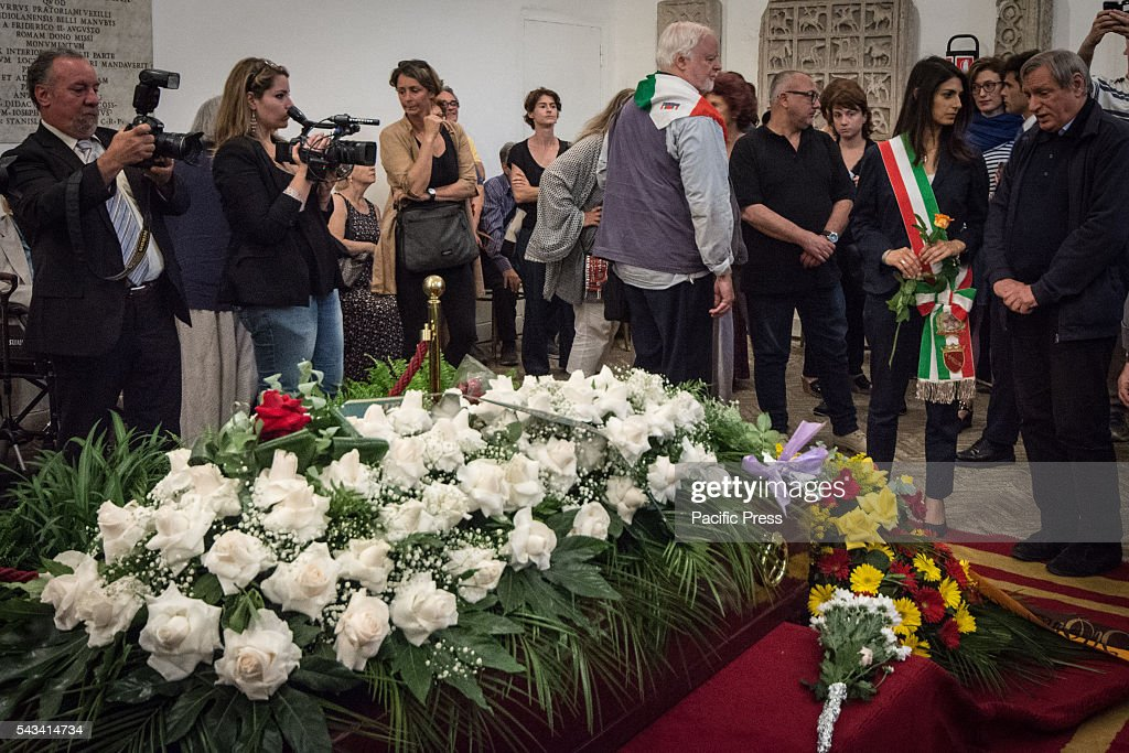 Mayor of Rome Virginia Raggi next to Don Luigi Ciotti (R) during the funeral of Director Giuseppe Ferrara in Rome. Burning chamber on Capitol Hill for the director Giuseppe Ferrara, to take part in the Sala del Carroccio, also joined were the mayor of Rome Virginia Raggi, the director Giuseppe Tornatore and Don Luigi Ciotti of Libera.