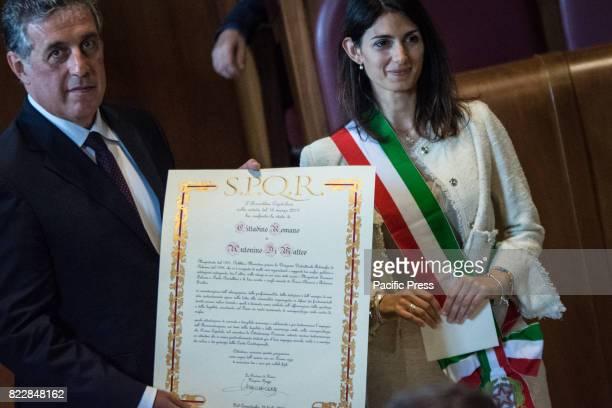 Mayor of Rome Virginia Raggi officiates at a ceremony conferring honorary Roman Citizenship on magistrate Antonino Di Matteo