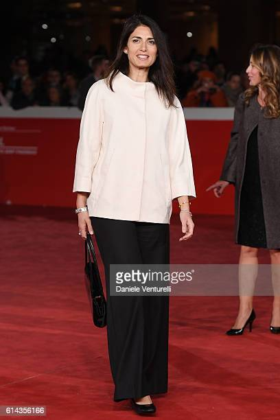 Mayor of Rome Virginia Raggi walks a red carpet for 'Moonlight' at Auditorium Parco Della Musica on October 13 2016 in Rome Italy