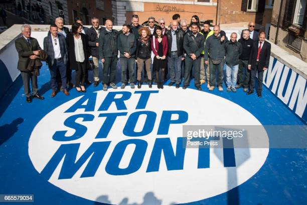 Mayor of Rome Virginia Raggi with Atac staff inaugurates the initiative 'Art Stop Monti' the Cavour metro station a development project of metro...