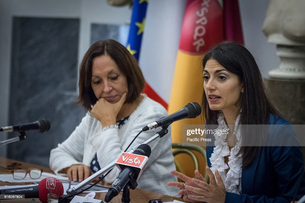 Mayor of Rome Virginia Raggi with the commissioner of Rome Flavia Marzano during presentation of the operation Capitol Open Budget, the online publication of the Capitoline budgets in Rome.