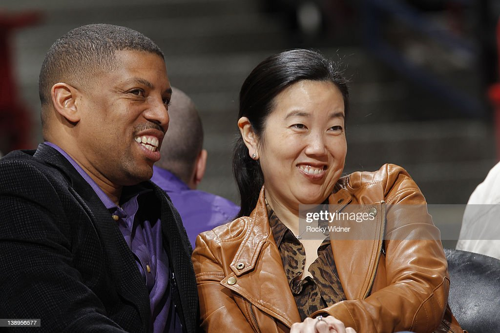 Mayor of Sacramento Kevin Johnson and wife, <a gi-track='captionPersonalityLinkClicked' href=/galleries/search?phrase=Michelle+Rhee&family=editorial&specificpeople=6520372 ng-click='$event.stopPropagation()'>Michelle Rhee</a> enjoying a game between the Phoenix Suns and the Sacramento Kings at Power Balance Pavilion on February 11, 2012 in Sacramento, CA.