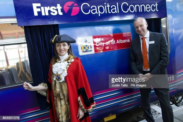 Mayor of St Albans City District Cllr Annie Brewster with managing director David Statham at London Blackfriars station as they unveil the name of a...