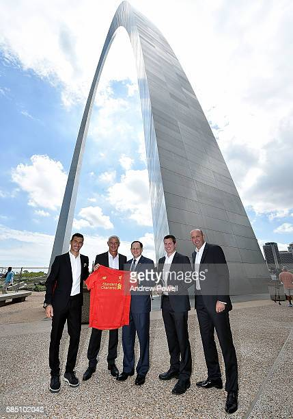 Mayor of St Louis Francis G Slay poses for a photograph with Billy Hogan Chief Commercial Officer of Liverpool and ambassadors of Liverpool Gary...
