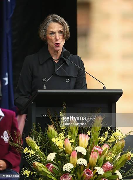Mayor of Tasmania Roseanne Heyward speaks during the 20th anniversary commemoration service of the Port Arthur massacre on April 28 2016 in Port...