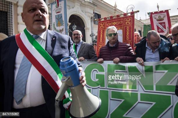 Mayor of Teramo Maurizio Brucchi during the demonstration promoted by the provinces of Abruzzo to demand the amendment of the Decree on the earthquake