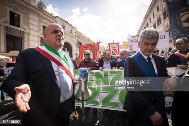 Mayor of Termoli Maurizio Brucchi and President of Province of Teramo Renzo Sabatino during the demonstration promoted by the provinces of Abruzzo to...