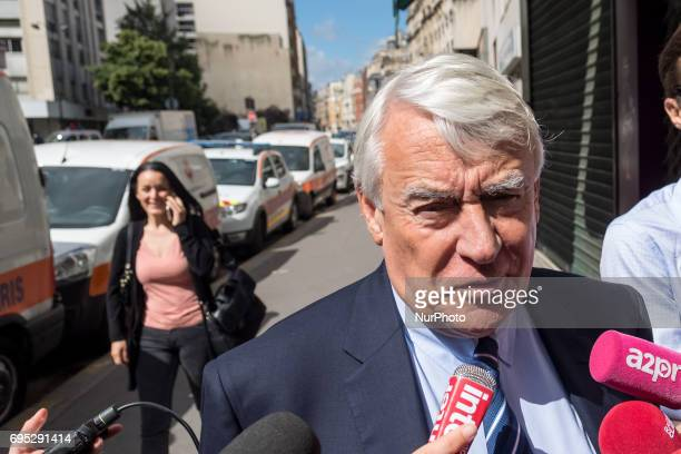 Mayor of the 16th arrondissement of Paris and rightwing Les Republicains party member Claude Goasguen speaks as she leaves LR party's headquarters in...