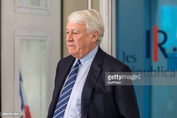 Mayor of the 16th arrondissement of Paris and rightwing Les Republicains party member Claude Goasguen leaves the Headquarters LR after the meeting to...