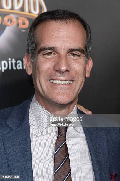 Mayor of the city of Los Angeles Eric Garcetti attends Universal Studios' 'Wizarding World of Harry Potter Opening' at Universal Studios Hollywood on...