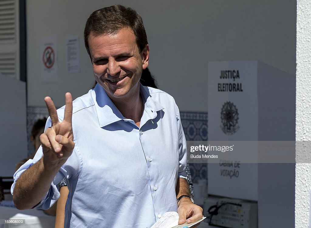 Mayor of the city of Rio de Janeiro and candidate for reelection Eduardo Paes poses for a picture after voting in Gavea Golf Club on October 07 2012...