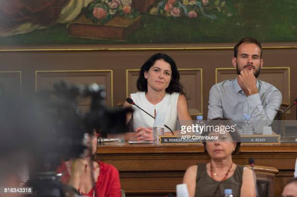 Mayor of the first distrist of Lyon Nathalie Perrin Gilbert looks on during the city council in which the new Mayor of Lyon Georges Kepenekian was...