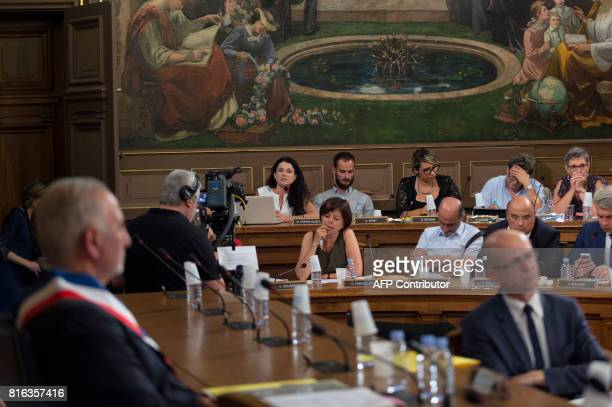 Mayor of the first distrist of Lyon Nathalie Perrin Gilbert speaks during the city council in which the new Mayor of Lyon Georges Kepenekian was...