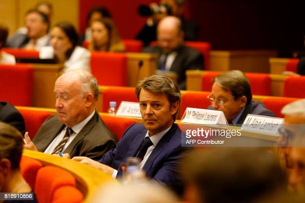 Mayor of Troyes Francois Baroin attends the opening of the 'Conference nationale des Territoires' at the Senate in Paris on July 17 2017 / AFP PHOTO...