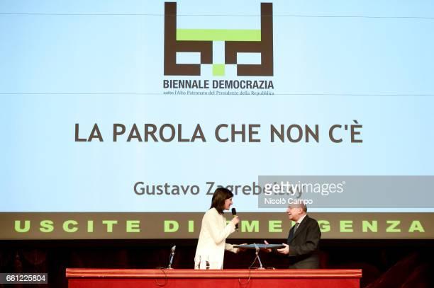 Mayor of Turin Chiara Appendino and Gustavo Zagrebelsky speak on stage during 'Biennale Democrazia'